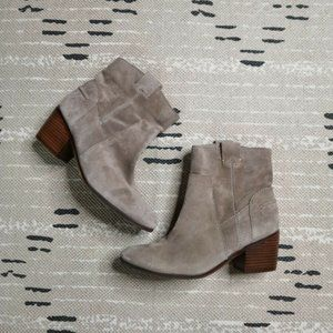 Vince Camuto Short Tan Suede Leather Booties 8.5